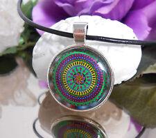 Leder Kette + Anhänger Mandala bunt Glas Cabochon 25 mm  Lederband schwarz 47 cm