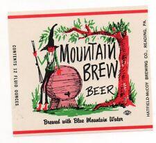 12oz MOUNTAIN BREW BEER BOTTLE LABEL by HATFIELD-McCOY BREWING CO READING PA