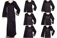 Black Velvet Embroidered Long Kaftan Caftan Arabic Maxi Dress Abaya Jilbab