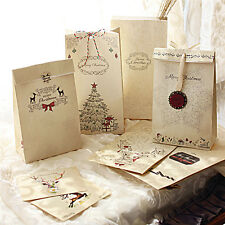8x Kraft Paper Xmas Party Holiday Cookies Present Gift Bags Luxury Wedding Bags