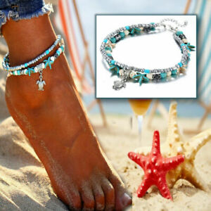 Beach Charms Bracelet Starfish Turtle Sea Aqua Blue Beads Anklet Foot Jewelry