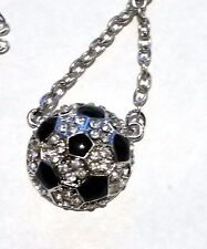 New Rhinestone Half Ball Soccer Ball Crystal Necklace - Us Seller