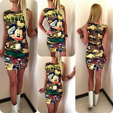 Women Mickey Minnie Mouse Slim Fit Bodycon Pencil Dress Casual Party T-shirt Top