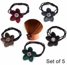 5 Pack Flower Rhinestone Elastic Hair Ties Rings Hair Accessories with Free Gift