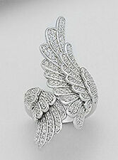45mm Wide Solid Sterling Silver Bypass Angel Wings size 8 CZ Knuckle Ring 11.8g