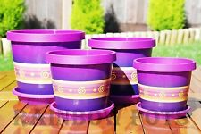 Coloured Plastic Flower Pots, Plant Pots, Planter with Saucer - Tray - VIOLET
