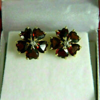Solid 1.90 Ct Heart Cut Diamond Red Ruby Halo Stud Earrings 14K Yellow Gold Over