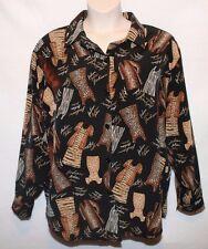Susan Graver Style 1X Black Animal Leopard Zebra Print Blouse Top Button Front