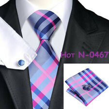 USA Classic Blue Pink Striped Checks Mens Tie Necktie Set 100% Silk Jacquard