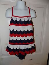 Chasing Fireflies Red/White/Blue One Piece Swimsuit Size 10 Girl's EUC