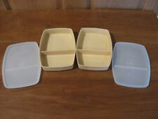 TUPPERWARE vintage 2 packette divided lunch containers golden wheat with seals