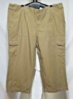 Womens Eddie Bauer Size 14P Tan Khaki Cotton Cargo Capri Cropped Pants NWOT
