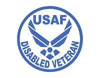 "U.S. AIR FORCE DISABLED VETERAN VINYL DECAL SILVER 6"" MILITARY US USA USAF"