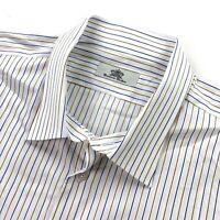 Oxxford Clothes Men's Button Dress Shirt White/Blue/Brown Stripes • Size XXL