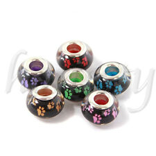5~100pcs 14x9mm Resin Big Hole Rondelle Spacer Beads Fit European Charm Xmas