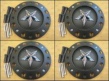 "4 x KMC XD Series Rockstar Matte Black Center Cap 16"" 17"" Dually 775L239B A0157"