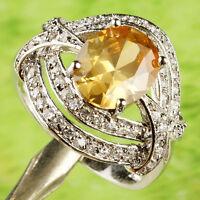 New Oval Cut Morganite White Topaz Gemstone Silver Bling Costume Ring Size 9
