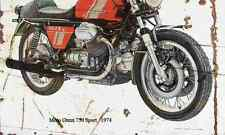 MotoGuzzi 750Sport 1974 Aged Vintage SIGN A3 LARGE Retro