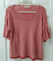 Ann Taylor LOFT Size L Large Red & White Striped Short Sleeve Pullover Cotton...