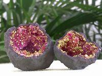 Pink Geode Pair Pink Crystal Geode Quartz Gemstone Specimen Dyed Morocco Geode.