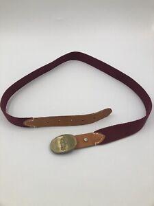 "Polo Ralph Lauren ~ VTG Burgundy 40"" canvas leather Belt ~ Brass Buckle 1758"