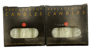 """NEW Northern Lights 6 Candles For Lanterns 4"""" Dia. X 3"""" Tall Tapered Replacement"""