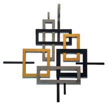 Contemporary Geometric open Square wood with Metal Wall Sculpture, Wall decor