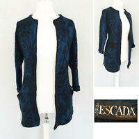 Escada Cardigan 12 14 Blue Black Coatigan Mohair Wool Blend Pockets 3/4 Sleeve