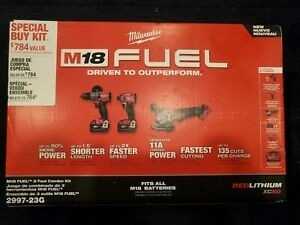 Milwaukee 2997-23G M18 FUEL 3-Tool Combo Kit w/(2) 5.0 Ah Batteries Bag 2997-23G