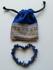 089 genuine Lapis Lazuli gemstone chip bead bracelet NEW
