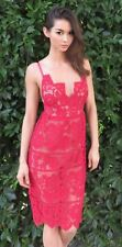 NWT $262 For Love & Lemons Gianna Midi Dress (S) SOLD OUT! Hot Red Lace