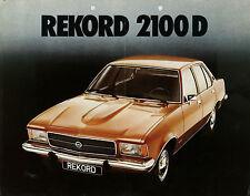 Prospekt Opel Rekord 2100 D 9/72 Autoprospekt 1972 Broschüre Auto brochure PKWs