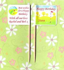 20 PERSONALISED HAPPY BIRTHDAY GOLF CUP CAKE FLAG Party Food Topper Decoration