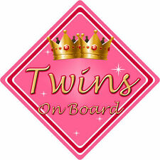 Non Personalizzato Bambino/Bambino a bordo auto sign ~ TWINS On Board ~ Rosa
