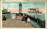 Steamer Passing and Lighthouse Chicago IL Vintage Postcard EE1
