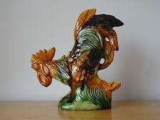 c.19th - Antique French Majolica Ceramic Rooster Glazed Ceramic Pottery