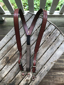 Men's Amish Made Leather SUSPENDERS, SMALL Barbed Wire Brown Adjustable Size USA