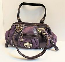 Kathy Van Zeeland Purse, Handbag, Double Handle, Zip Top Satchel Purple