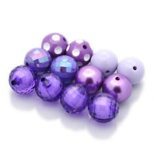 20× Round Chunky Bubblegum Acrylic Bead in Bead as Pearl AB Colour Purple 20mm