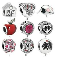 S925 Silver Sweet Home Snow White Apple Belle Mickey Minnie Kiss Charms