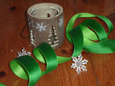 Green Double Sided Two Tone Satin  Xmas Ribbon Bows Wreath Wire Edge
