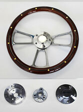 65-1969 Ford Mustang Steering Wheel Mahogany Wood w/rivets and Billet Spokes 14""