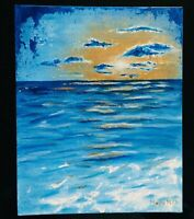 Abstract BLUE GOLD SUNSET Painting Original 8x10 Acrylic Mayra MTV Canvas Panel
