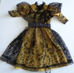 "Victorian Style Gold Black Lace Dress for 20"" 21"" 22"" 23"" 24"" German French Doll"