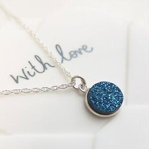 Blue Druzy Sparkle Pendant Drop Necklace - Sterling Silver