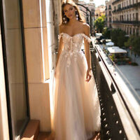 Off Shoulder Beach Wedding Dress Applique Tulle Backless Bridal Gown Boho 2020