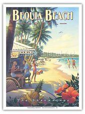 Bequia Beach Hotel - Kerne Erickson Vintage Style Travel Poster Print
