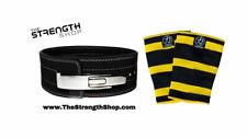 Strength Shop Powerlifting Lever 10mm Black Belt (Medium) + Thor Knee Sleeves