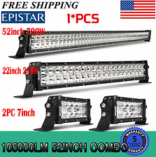 """52Inch LED Light Bar Combo + 20in +7"""" CREE PODS OFFROAD SUV 4WD ATV FORD JEEP 50"""