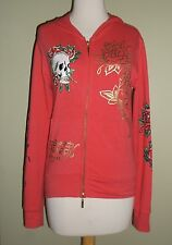 Ed Hardy Hoodie Small Pink Bling Skull Roses